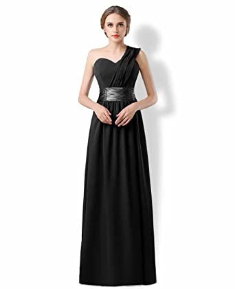 One Shoulder Bridesmaids Ballgown Evening Prom Gown Womens Dresses Black 4
