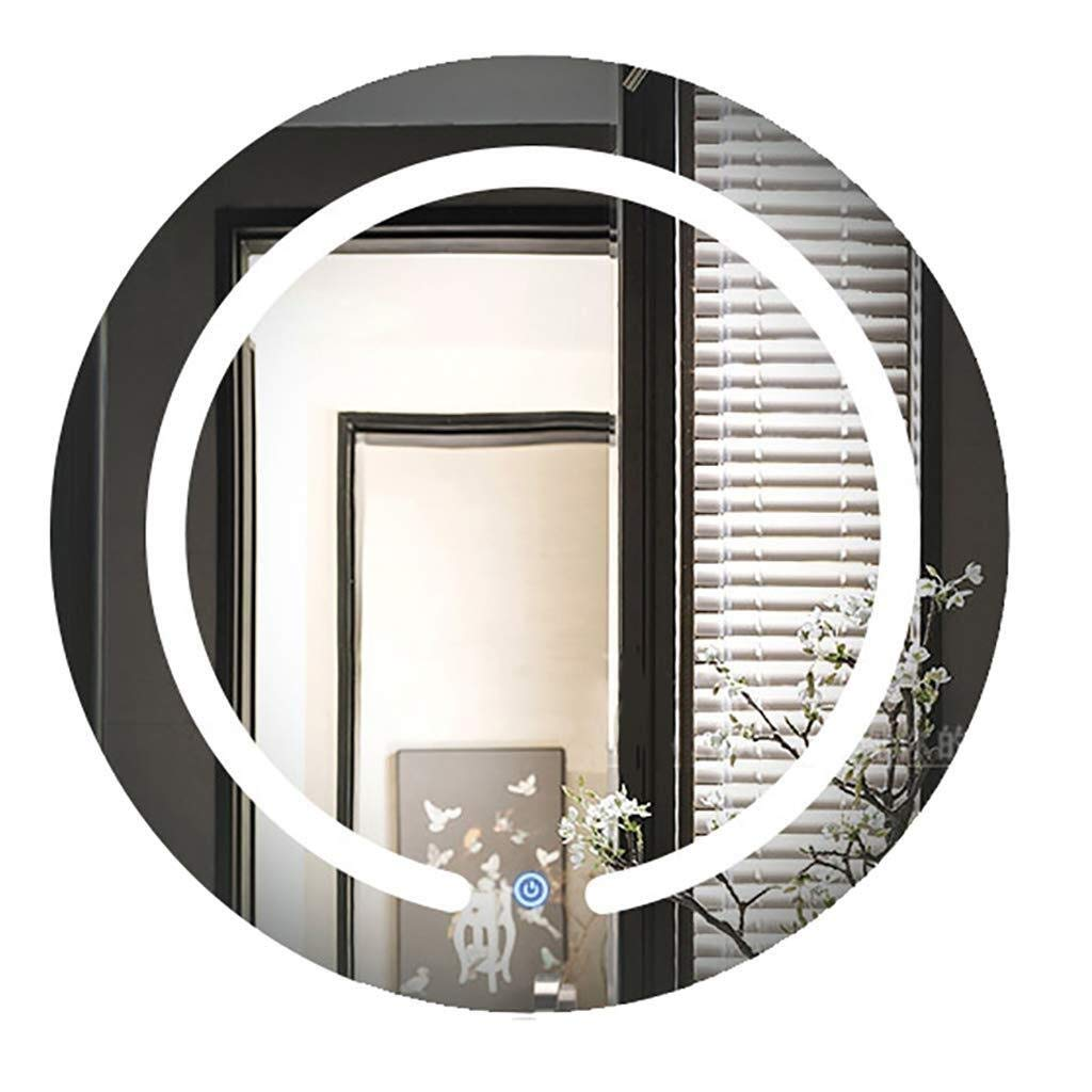Beauty mirror LED Bathroom Mirror Round,Illuminated Modern Wall-Mounted Vanity Mirror With 2 Lights Aluminum Back Frame Dressing mirror (Size : 70cm) by Makeup Mirrors