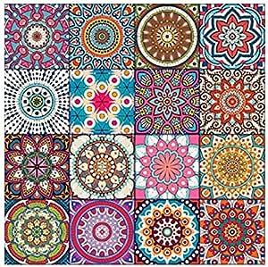 تابلوه مربع ماندالا متعدد الألوان من فوتو بلوك 16×16 سم - 272480633433