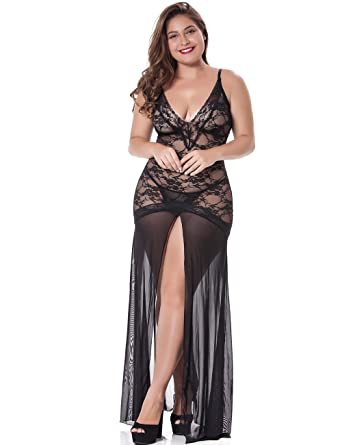 3725bd8cf LINGERLOVE Women's Plus Size Lingerie Sexy Split Maxi Long Gown Sheer Dress  (Black, One