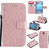 Galaxy S4 Case,YiLin Rose Gold Sunflower wallet Case with Kickstand and flip cover for Samsung Galaxy S4 i9500
