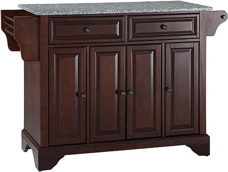 Amazon Com Crosley Furniture Lafayette Full Size Kitchen Island With Solid Gray Granite Top Mahogany Kitchen Islands Carts