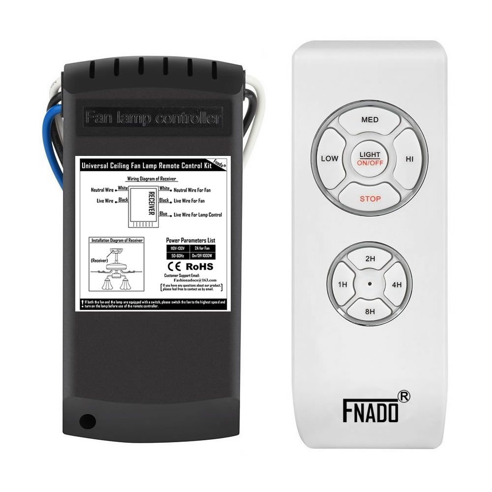 Fnado F2-U [Learning Code] 3-in-1 Universal Ceiling Fan Lamp Remote Controller Kit & Timing Wireless Remote Control For Hunter/Harbor Breeze/Westinghouse/Honeywell/Other Ceiling Fan by FNADO