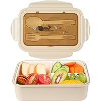 MEIXI Fiambrera Infantil Caja de Bento con 3 Compartimentos y Cubiertos Fiambreras Caja de Alimentos Ideal para Almuerzo…