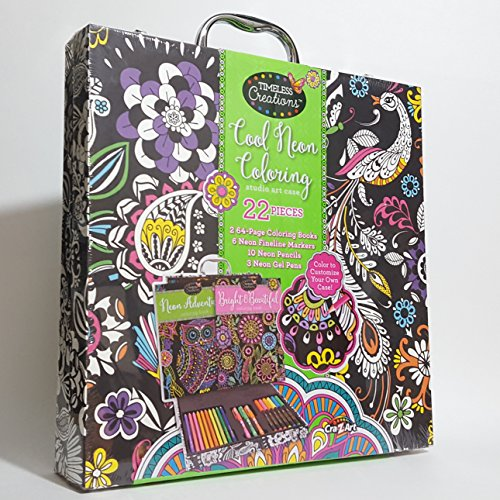 Timeless Creations 01-0817BBFDD000790A Cool Neon Coloring Studio Art Case with 2 64-Page Coloring Books 22 pc Creation Studio
