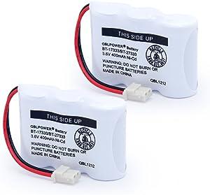 QBLPOWER BT-17333 BT-27333 Handset Telephone Rechargeable Battery 2/3AA 3.6V NI-CD Cordless Phone Battery Compatible with Vtech BT17333 BT27333 BT-17233 BT17233 BT-163345 CS5121 (Pack of 2)