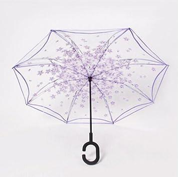 Paraguas con mango largo Paraguas trasero transparente paraguas manos libres doble paraguas creativo inverso paraguas femenino