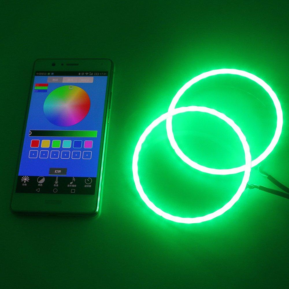 Grandview set 60mm mucolore RGB LED Halo anelli luce COB 60SMD Smart Phone iOS Android App controllo bluetooth auto Angel Eyes cerchio anello f lampada luci diurne DRL 12V