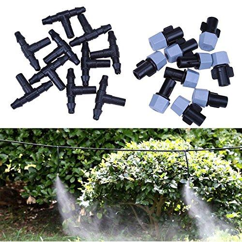 (Misting Spray Nozzle - Adjustable Garden Spray Sprinkler Heads 10pcs Nozzle Tee Set Misting Watering - Unijet Heads Mrs.potato Sprinkler Plants Tees Adjustable Dripper Irrigation Watering)