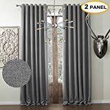 Artdix Blackout Curtains Panels Window Drapes – Grey 100W x 120L Inches (2 Panels) Grommet Top Nursery Insulated Thermal Solid Faux Linen Fabric Curtains For Bedroom, Living Room, Kids Room, Kitchen