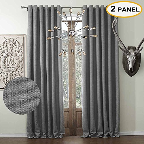 Artdix Blackout Curtains Panels Window Drapes - Grey 100W x 120L Inches (2 Panels) Grommet Top Nursery Insulated Thermal Solid Faux Linen Fabric Curtains For Bedroom, Living Room, Kids Room, Kitchen