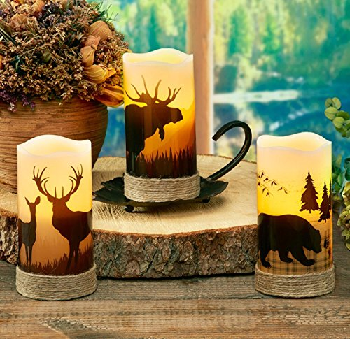 CC Home Furnishings Pack of 4 Country Rustic Bear LED Lighted Wax Flameless Pillar Candles with Timer 6'' by CC Home Furnishings (Image #2)