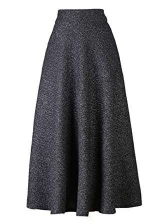 d8e56279c Choies Women's High Waist A-line Flared Long Skirt Midi Cause Skirt S Black