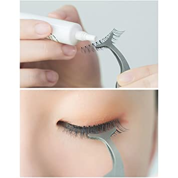 False Eyelashes Extension Applicator Stainless Steel Remover Clip Tweezers Nipper Tool Pack of 2...