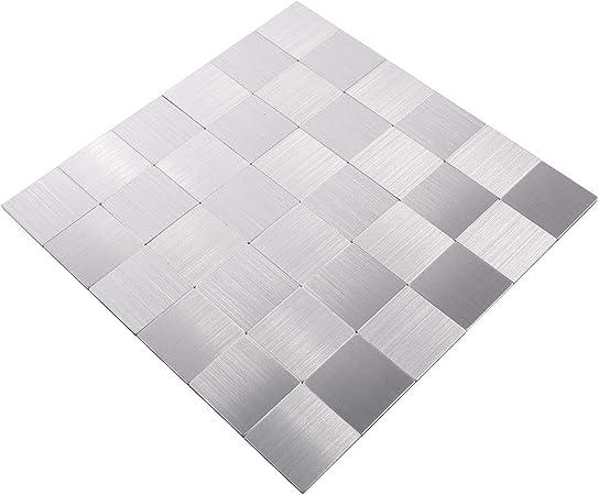 Mosaik Tapis de carrelage autocollant en aluminium pour carrelage de WC  WAND BAD WC KÜCHE DIVERSION DE BADEWANNEAU - Plaque de mosaïque Sliber #700
