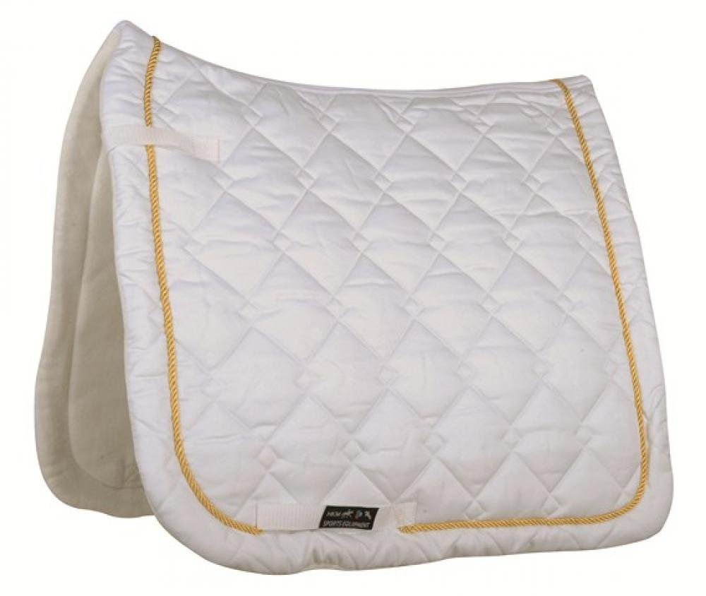 HKM Saddlecloth Gently Dressage - white/ golden Cord, Vollblut/Warmblut
