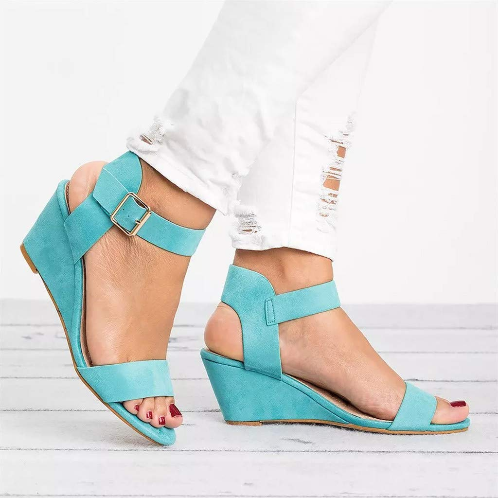 Women Espadrilles Sandals,Fashion Platforms Wedges Open Toe Ankle Strap with Buckle Wedge Sandal Low-Chunk Heel Sandals