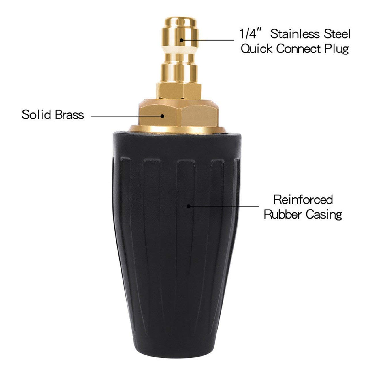 4000PSI Pressure Washer Turbo Nozzle Spray Tip 360 degree Rotating 1//4 inch Quick Connect