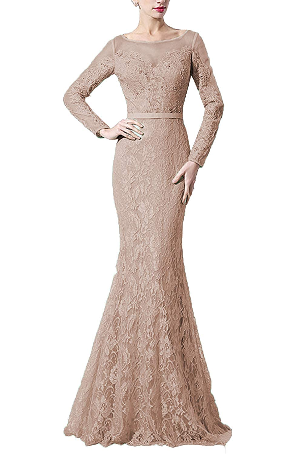 Champagne SDRESS Women's Lace Mermaid Evening Dress with Sleeves Crystal Beaded Formal Dress Long
