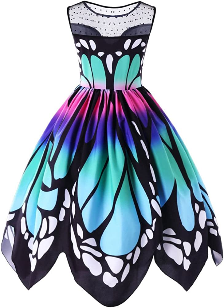 YoYoly halloween costumes,Womens Butterfly Printing Sleeveless Party Dress Vintage Swing Lace Dress