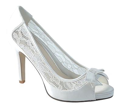 306645d4399 Chic Feet Ladies Ivory Satin   Lace Wedding Bridal Evening High Heel Court  Shoes - UK
