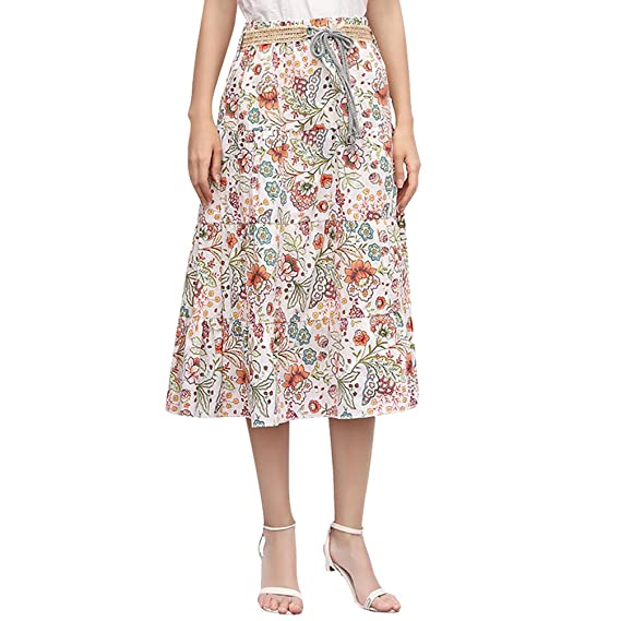 ZKOOO Mujeres Midi Falda Verano Estampado Floral Bohemia Corto ...