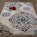 """Diagona Designs Contemporary Medallion Design 7' by 10' Area Rug, 79"""" W x 111"""" L, Gray / Navy / Teal / Beige"""
