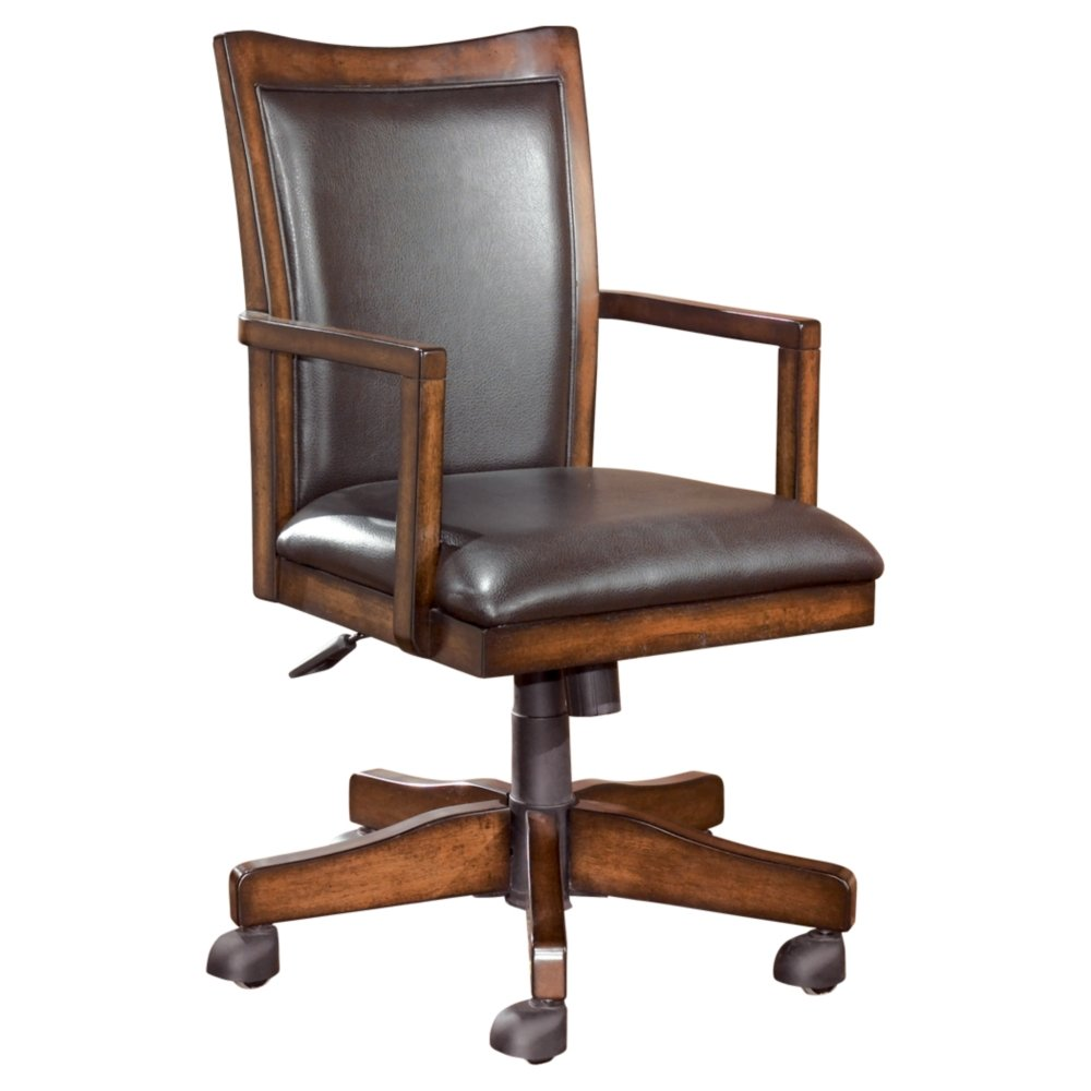 Ashley Furniture Signature Design - Hamlyn Swivel Office Desk Chair - Casters - Traditional - Medium Brown Finish - Brown Faux Leather H527-01A