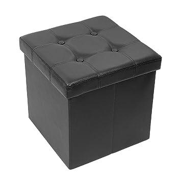Pieds Tabouret CaféSimili Coffre Amoiu Repose CuirNoir Cube Ottoman 38cm X De Rangement Pliable CdxBoeWr