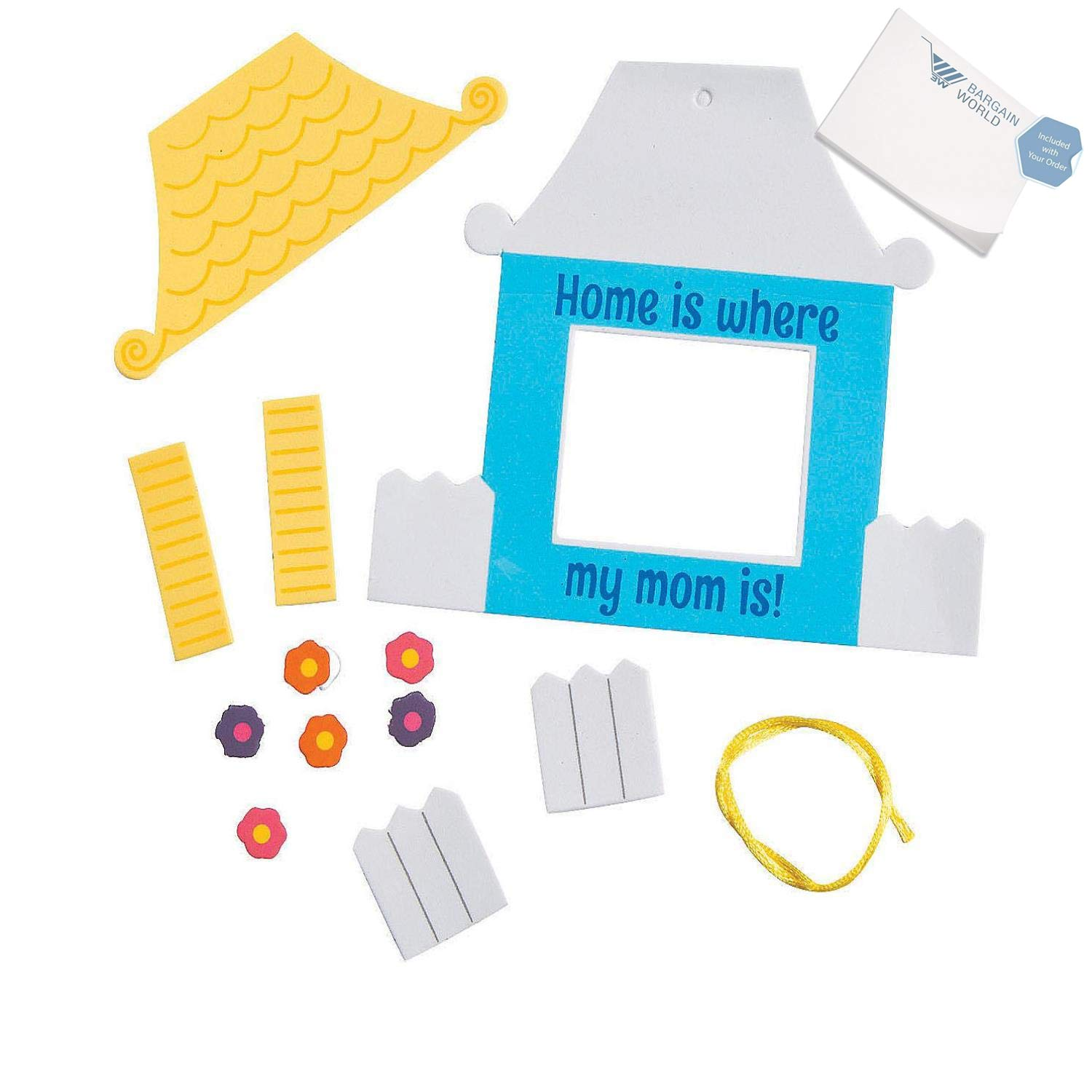Bargain World Home Is Where My Mom Is Picture Frame Craft Kit (With Sticky Notes) by Bargain World (Image #2)