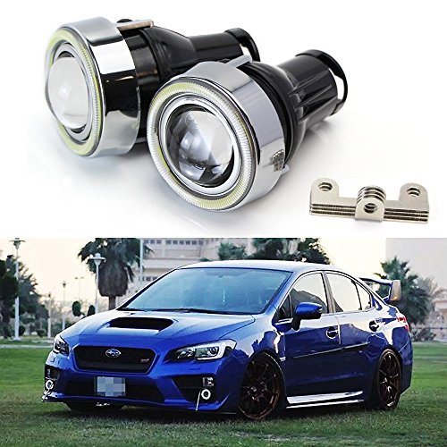 iJDMTOY (2) OEM Replacement High Power LED Halo Ring Glass Projector Fog Lights For Acura Honda Ford Nissan Subaru Suzuki, etc (HID Ready) ()