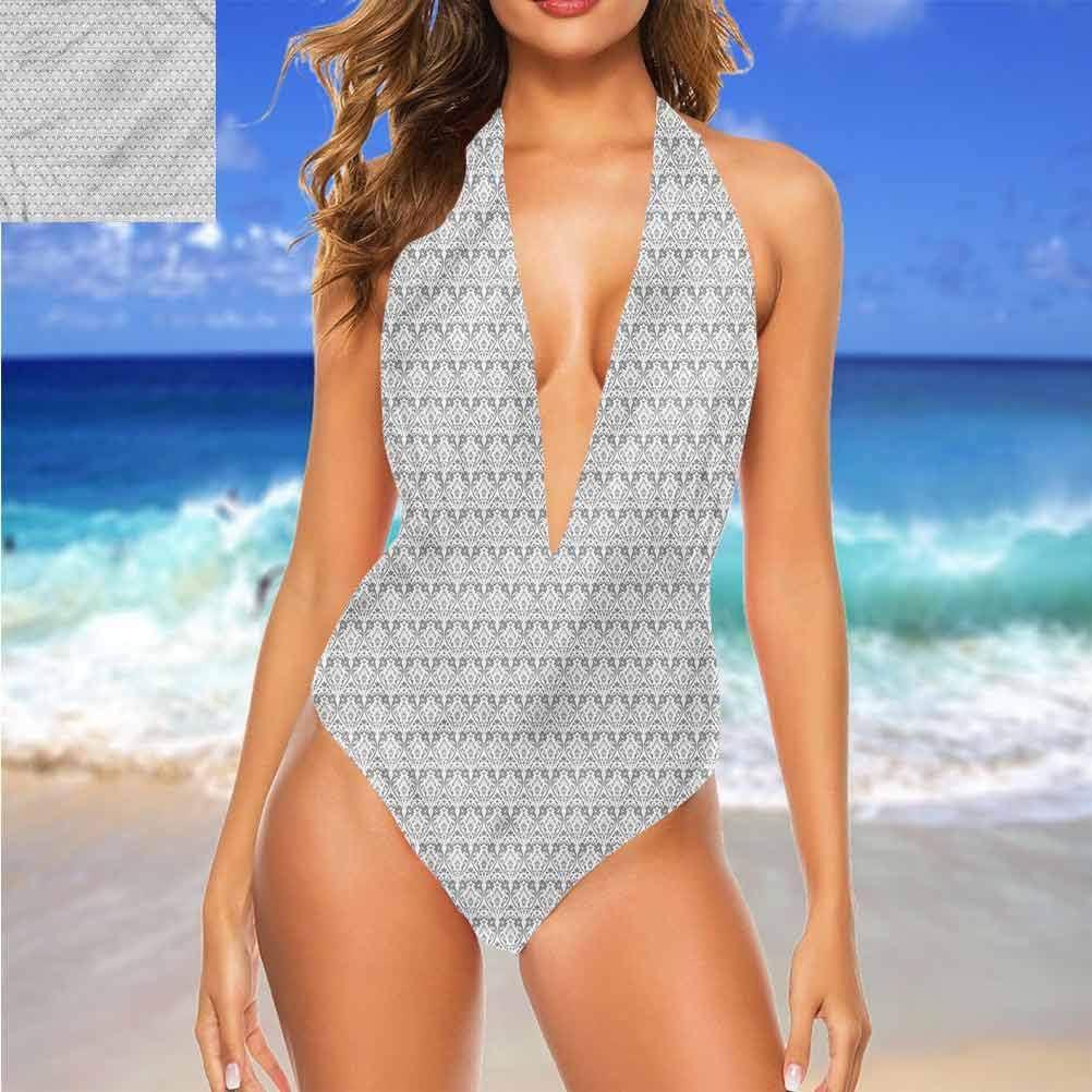 Bikini Gris et Blanc, Cercles excentriques Très Mignon et Lanières Multi 19