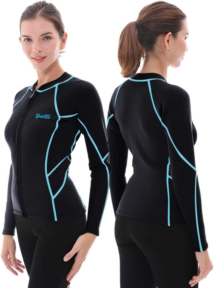 GoldFin Women's Wetsuit Top, 2mm Neoprene Wetsuit Jacket Long Sleeve Front Zip Wetsuit Shirt for Swimming Water Aerobics Diving Surfing Kayaking