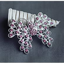Rhinestone Brooch Component Crystal Light Rose Pink Butterfly Hair Comb Shoe Clip Pin Wedding Cake Decoration BR131