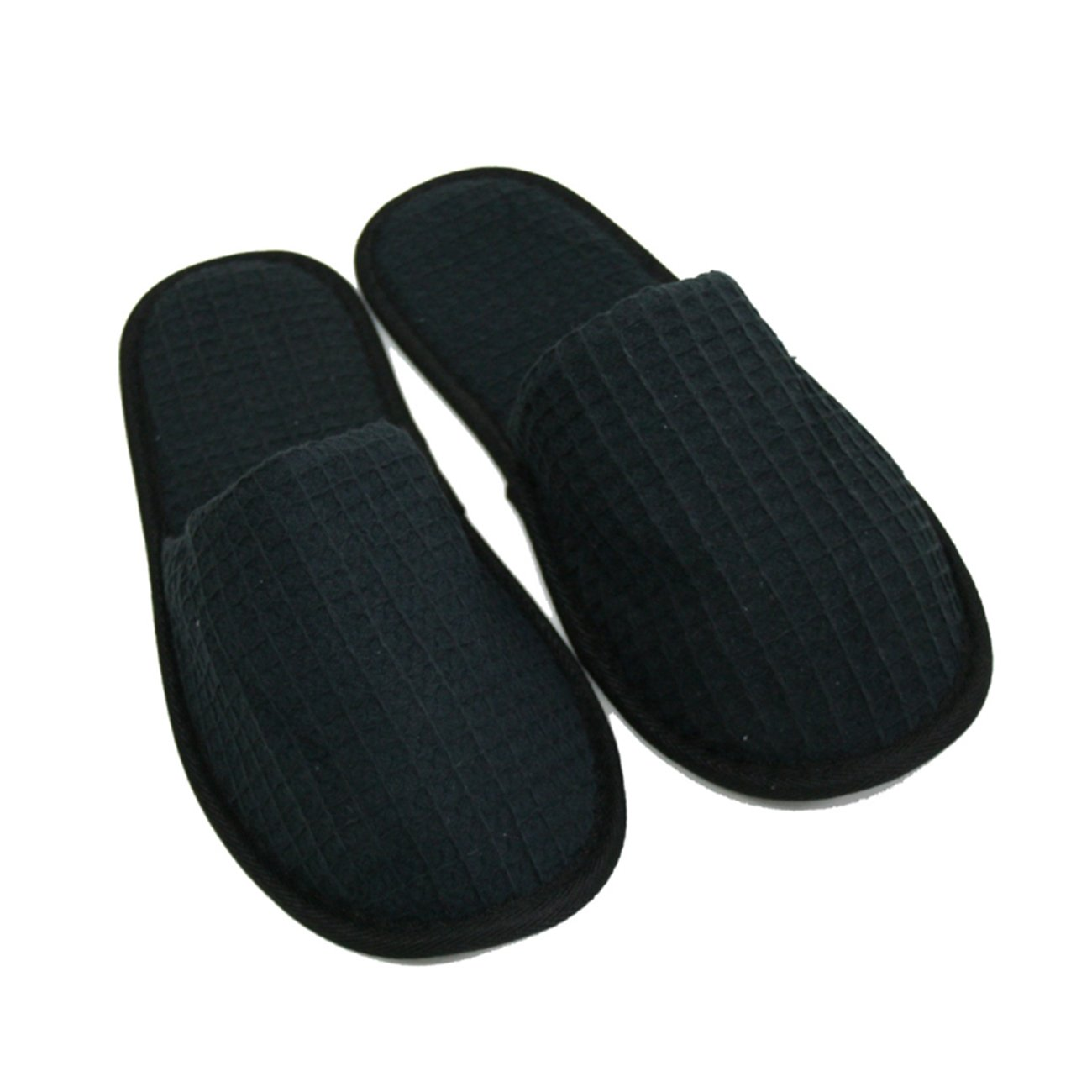 Waffle Closed Toe Adult Slippers Spa Hotel Slippers for Women and Men White (Black)