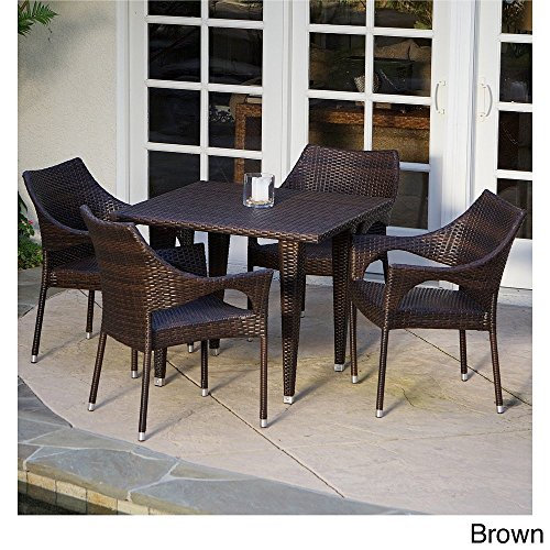 (Patio Furniture 5-piece Outdoor Dining Set Crafted of Tightly-woven Synthetic Wicker. New! Features Four Stacking Arm Chairs & Square Table in a Rich Brown Color)