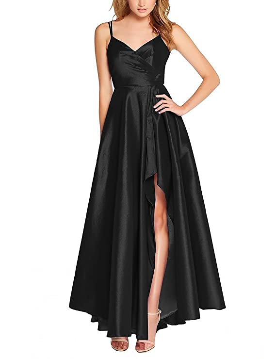 tutu.vivi Womens Spaghetti Straps V-Neck High Low Prom Dresses Long Formal Evening Gowns at Amazon Womens Clothing store: