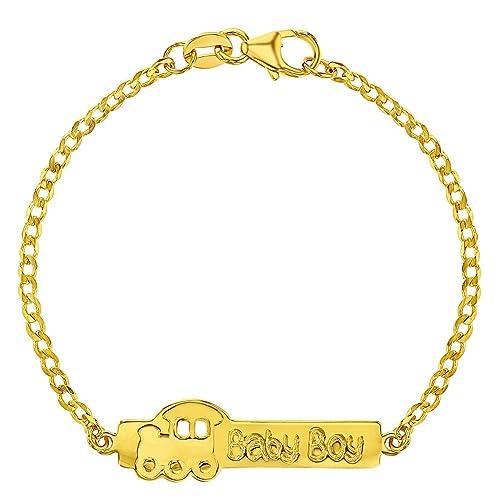 Amazon.com: 925 Sterling Silver Baby ID Bracelet Train Baby Boy ...