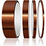 High Temp Tape, ELEGOO 4 Pack Polyimide High Temperature Resistant Tape Multi-Sized Value Bundle 1/8'', 1/4'', 1/2'', 1'' wit