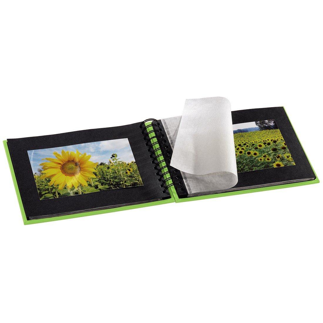 album /à spirales 24 x 17 cm avec d/écoupe pour y mettre une photo Hama Album photo Fine Art kiwi vert 50 pages noires 25 pages