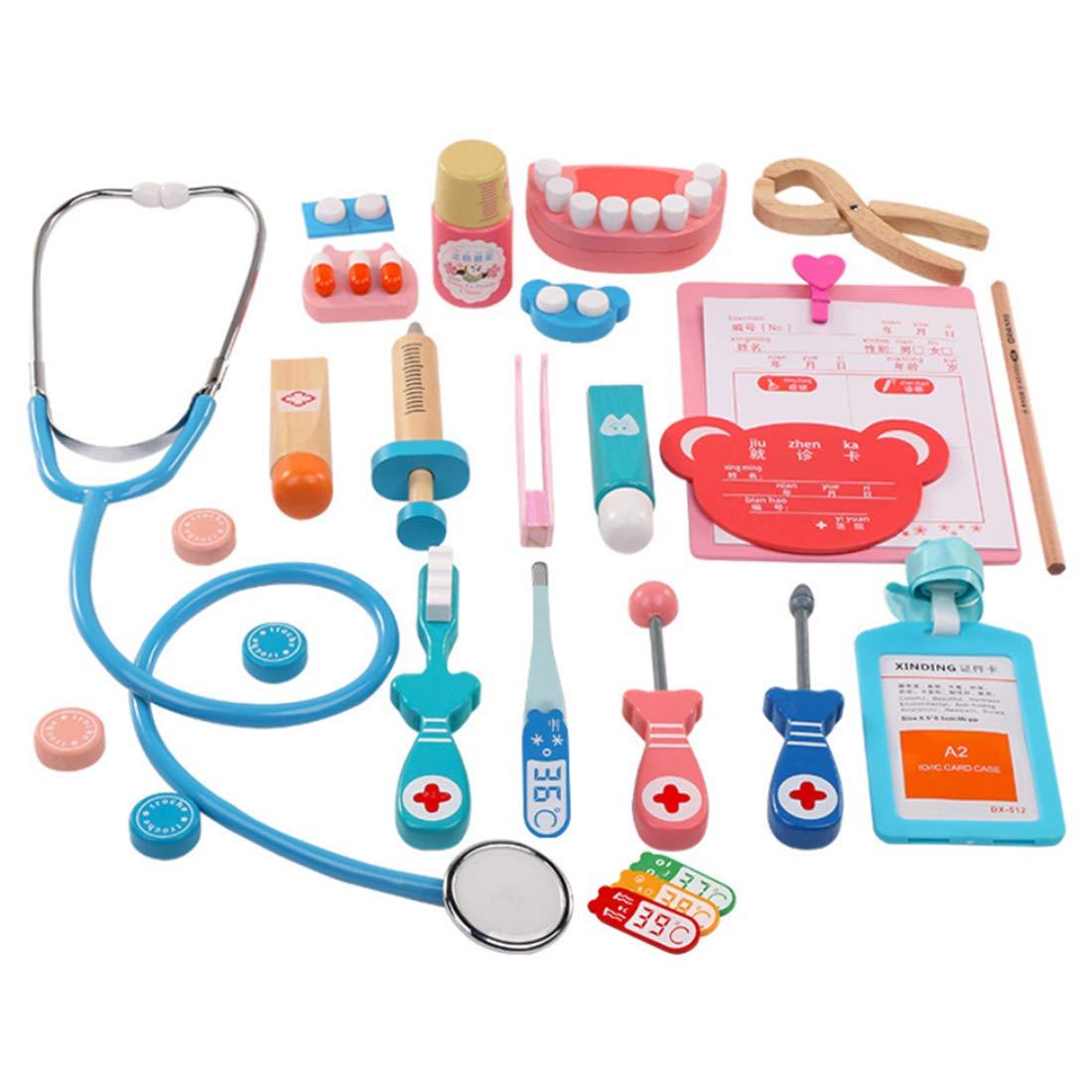 Rolanli Arztkoffer Kinder, 24 Stück Arztkoffer Holz Simulation Stethoskop Spielzeug für Kinder Rollenspiele