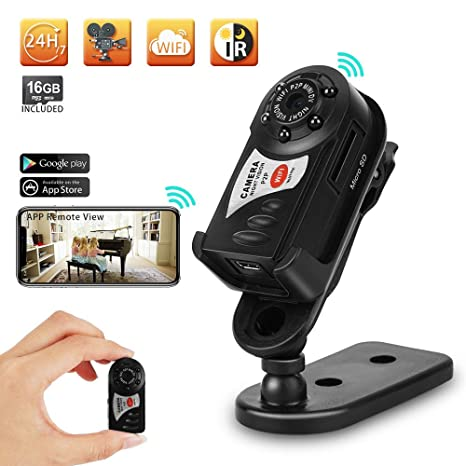 Toughsty Mini WiFi Camera Pocket Handheld Video Recorder Support iOS  Android APP Remote View and IR Night Vision 16GB Micro SD Card Built-in