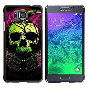 Impact Case Cover with Art Pattern Designs FOR Samsung ALPHA G850 Skull Green Purple Death Raven Tattoo Betty shop