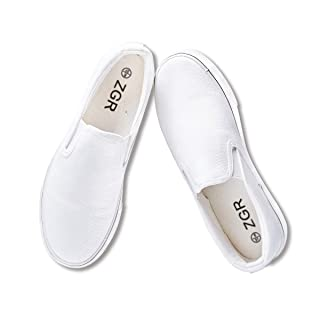 ZGR Women's Slip On Canvas Loafer Shoes Fashion Low Cut Sneakers,White,US8...