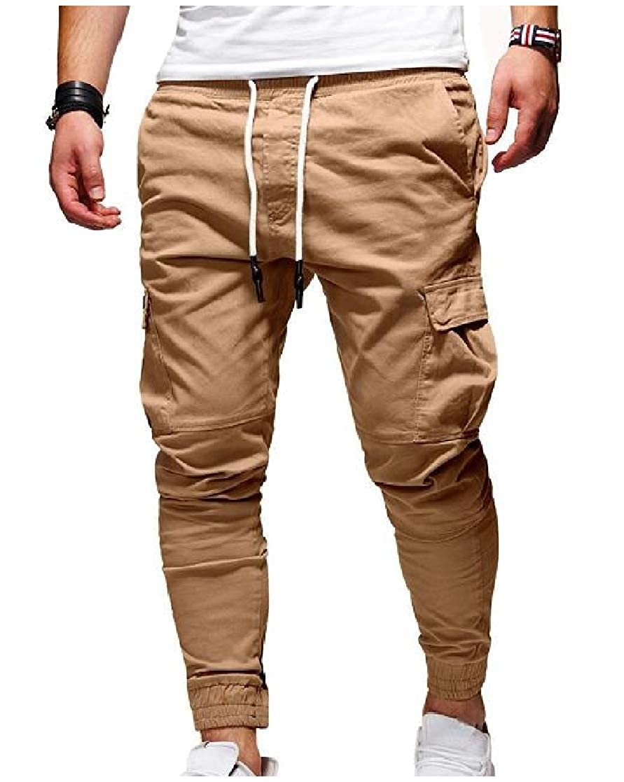 TaoNice Mens Classic Waist Tie Pockets Trim-Fit Casual Elastic Running Trousers