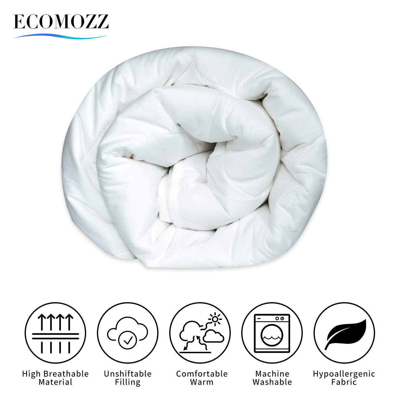 EcoMozz King Comforter with Corner Tabs - All Season Down Alternative Comforter - Soft Warm Quilted Duvet Insert - Hypoallergenic Fluffy Hotel Collection - White by EcoMozz (Image #3)
