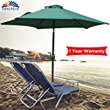 Dienspeak Deluxe 7.5' Round Market Table Patio Umbrella Sunshade 1000 Hours Fade-Resistant Outdoor Table Umbrella with Push Button Tilt, 3-Way Tilting,6 Steel Ribs (Green)