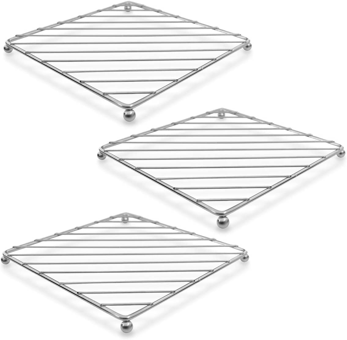 """LEEDA 3 Set Wire lron Square Pot Stand Trivet, 7?"""" Metal Table Protector Casserole Holder, Chrome Plated Trivets for Kitchen Dining Table, Serving Hot Dish, Pot, Pans, Teapot, Bowl"""