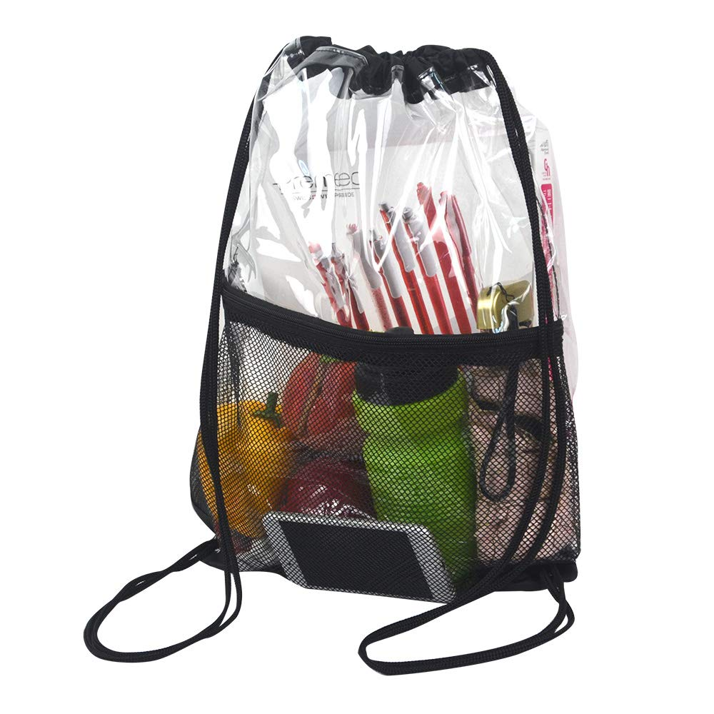 Clear Drawstring Bag, PVC Drawstring Backpack with Front Zipper Mesh Pocket by Magicbags (Image #2)