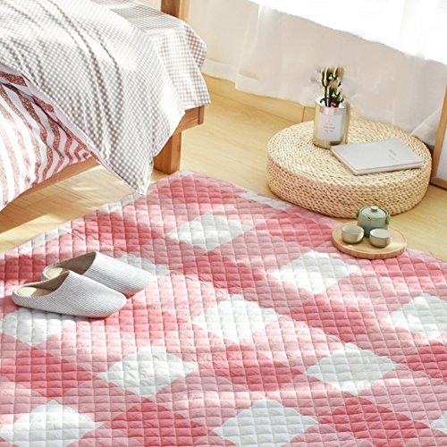 Decorative Rugs Modern Carpet Rectangle Cotton mats for Bedroom Living Room Simple Nordic Mattress Tatami Children Crawler pad Non-Slip Foldable Washable-E 110x210cm(43x83inch)
